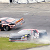 Don Knight/The Herald Bulletin<br /> Tyler Roahrig slides through the infield before hitting the wall during the Stoops Freightliner Redbud 300 at the Anderson Speedway on Saturday.
