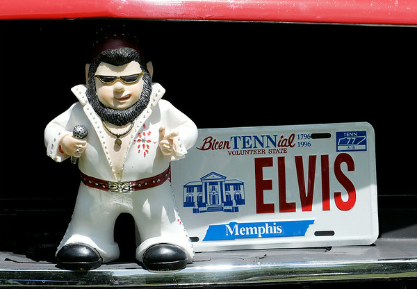 Don Knight | The Herald Bulletin<br /> An Elvis garden gnome stands on the grill of a Chevy truck during Goodstock at Good's Candy Shop on Saturday. To view or buy this photo and other Herald Bulletin photos, visit photos.heraldbulletin.com.