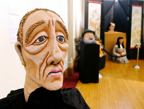 John P. Cleary | The Herald Bulletin<br /> These are some of the masks on display in the Doug Berky Imaskinations exhibit at the Anderson Center for the Arts.
