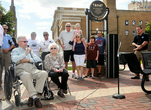 "Don Knight | The Herald Bulletin<br /> Charles Dickmann with his wife Hazel were honored by the city with the naming of the Dickmann Town Center Plaza on Thursday. ""I have received many high honors but I will cherish this the most because it comes from my hometown,"" Dickmann said. The Dickmanns created a $100,000 endowment that will benefit the park."