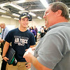 John P. Cleary | The Herald Bulletin<br /> Clayton Kornman, a senior at Lapel High School, talks with his new Automotive Services instructor Mike Morgan at the new Anderson High School District 26 Career Campus open house Tuesday evening.