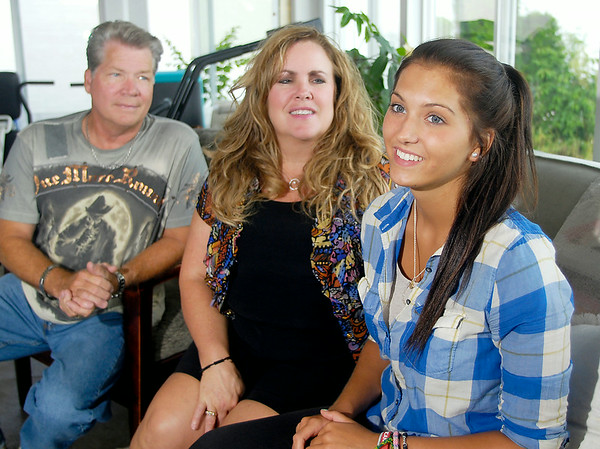 John P. Cleary | The Herald Bulletin<br /> Michael and Tracy Skiles with Rotary exchange student Paulina Berger, who stayed with them.