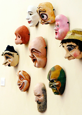 "John P. Cleary | The Herald Bulletin<br /> These are part of the ""expressive masks"" on display in the Doug Berky Imaskinations exhibit at the Anderson Center for the Arts."