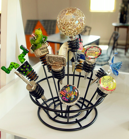 John P. Cleary | The Herald Bulletin<br /> An assortment of bottle stoppers at the Madison County Winery at their new location outside Markleville.