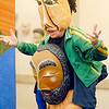 John P. Cleary | The Herald Bulletin<br /> Doug Berky performing for kids at Anderson Center for the Arts with his mask exhibit.