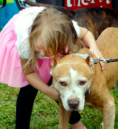 John P. Cleary   The Herald Bulletin<br /> 5 year old Maddy Sharp leans over and gives her pal Puddin' Pops a big hug  during the Gone to the Dogs celebration Saturday at Shadyside Park's Activities Center.  To view or buy this photo and other Herald Bulletin photos, visit<br /> photos.heraldbulletin.com.