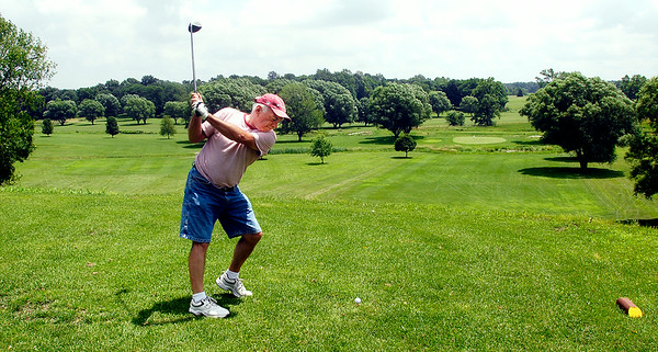 John P. Cleary | The Herald Bulletin<br /> Gary Davis of Anderson tees off on the 15th hole of Valley View Golf Course this past Tuesday.  The course has reopened this spring after being closed for about two years.
