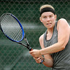 John P. Cleary | The Herald Bulletin<br /> Alex Hammel follows through with a backhand return during her Women's A Singles championship match Saturday against Diane Silberberg.  Hammel won 6-2, 6-3 for the title. <br /> <br /> To view or buy this photo and other Herald Bulletin photos, visit<br /> photos.heraldbulletin.com.