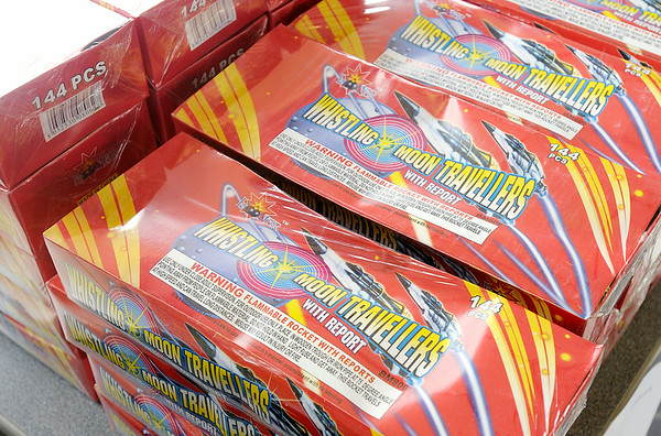 Don Knight | The Herald Bulletin<br /> Fireworks for sale at Pyroville on Scatterfield on Saturday. To view or buy this photo and other Herald Bulletin photos, visit photos.heraldbulletin.com.