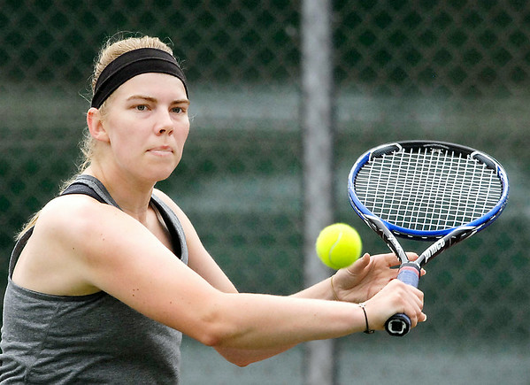 John P. Cleary | The Herald Bulletin<br /> Alex Hammel readys a  return during her Women's A Singles championship match Saturday against Diane Silberberg.  Hammel won 6-2, 6-3 for the title.