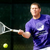 John P. Cleary | The Herald Bulletin<br /> Cameron Scott hits a forehand during his Men's A Singles match against David Ellis Wednesday evening in the Anderson Tennis Classic.