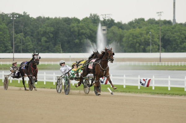 Don Knight   The Herald Bulletin<br /> Trace Tetrick drives Ginger Shark to the win in the Indiana Sires Stakes at Hoosier Park on Friday.