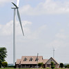 John P. Cleary | The Herald Bulletin<br /> This Wildcat Wind Farm turbine sits right behind this home in Madison County on CR 1300 North just west of CR 700 West outside of Elwood.