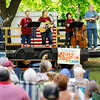 Don Knight | The Herald Bulletin<br /> Cumberland Gap performs during the White River Folk & Bluegrass Club Summer Bluegrass Festival at Shadyside on Saturday. Band members include Danny Reneau, Jo Reneau, Angie Hensley, Ellen Davis and Bob Davis.