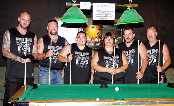 Mark Maynard   for The Herald Bulletin<br /> The Money Shots 9-ball team is comprised of Nick Rennier, Jeremiah McAtee, Shawn Whitehead, Donna Nickerson, Wade Whitehead and Tim Nickerson, along with Josh Thompson and Andy Harry (not shown); they are headed to Las Vegas for the second year in a row to compete in the national billiard championships.