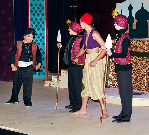 """Mark Maynard   for The Herald Bulletin<br /> Razoul (Remington Bishop) and the guards imprison Aladdin in a cave during Anderson Mainstage Theatre's presentation of """"Aladdin Jr."""""""