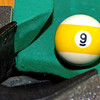 Mark Maynard | for The Herald Bulletin<br /> Contolling the position of the number nine ball and deciding when to sink it in the pocket is one of the key strategies to victory in the game of 9-ball.