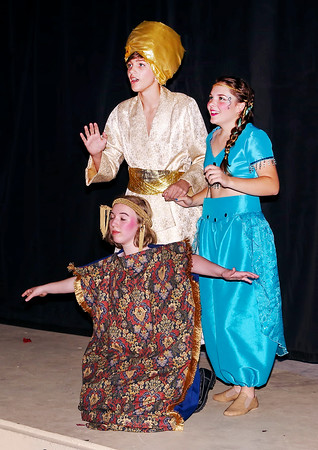 """Mark Maynard   for The Herald Bulletin<br /> Aladdin (Parker Smith) and Jasmine (Teddi Bishop) discover """"A Whole New World"""" while riding a magic carpet (Lillian Richardson) in Anderson Mainstage Theatre's production of """"Aladdin Jr."""""""