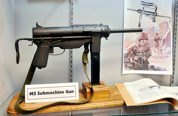 John P. Cleary   The Herald Bulletin<br /> The new Guide Lamp exhibit at the Madison County Historical Society includes<br /> a M3 Submachine gun which Guide Lamp manufactured during WW II.