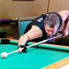 Mark Maynard | for The Herald Bulletin<br /> Money Shots 9-ball team captain Wade Whitehead connects with the cue ball during a practice session at Bourbon Street Bar & Grill in Anderson.