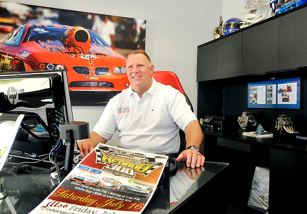 John P. Cleary | The Herald Bulletin<br /> Mitch Smith, of Mitch Smith Auto Service, is a presenting sponsor for the Redbud 300.
