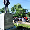 John P. Cleary | The Herald Bulletin<br /> People gather at the Martin Luther King Jr. statue for a prayer vigil for the recent shooting victims and show community solidarity