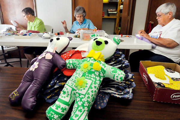 John P. Cleary    The Herald Bulletin<br /> The Madison County Love Bears group makes their Love Bears at Southern Heights Christian Church. Working in the background here are Berine Lewis, Sally Freeman, and Mary Gutierrez.