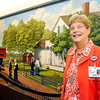John P. Cleary |  The Herald Bulletin<br /> Nancy Pitcock, vice president and chief nursing officer for St. Vincent Anderson, is retiring after 46 years of service at the hospital. Nancy is shown here in front of the lobby mural that recognizes the benefactors and founders of Anderson's first hospital.