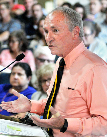 John P. Cleary    The Herald Bulletin<br /> Madison County Health Department administrator Steve Ford addresses the council Tuesday evening.