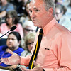 John P. Cleary |  The Herald Bulletin<br /> Madison County Health Department administrator Steve Ford addresses the council Tuesday evening.