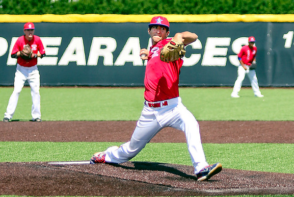 Chris Martin for The Herald Bulletin <br /> Pendleton's Eston Stull pitches at the North vs South Indiana High School All Star game Saturday at Ball State.