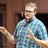 John P. Cleary |  The Herald Bulletin<br /> Orangehaus Music Business Camp faculty member Josh Sadlon talks to the nearly 30 students about building home recording studios.