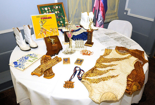 Don Knight | The Herald Bulletin<br /> Twirling memorabilia on display during the Elwood Twirlers reunion to recognize Tudy Smith at the Elwood Opera House on Saturday.