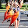 Don Knight | The Herald Bulletin<br /> Color guard member Deva Finch rehearses with the Elwood band as they prepare for State Fair Band Day.