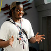 Don Knight | The Herald Bulletin<br /> Local cartoonist Deon Parson talks to students in the Stop-Motion Animation camp at The Anderson Center for the Arts on Thursday.