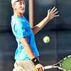 John P. Cleary |  The Herald Bulletin<br /> Joseph Conrad follows his shot during play in the Men's A singles finals match against Garret Fensler Saturday evening at the Community Hospital Anderson Tennis Classic.