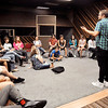 John P. Cleary |  The Herald Bulletin<br /> Orangehaus Music Business Camp faculty member Josh Sadlon talks to the nearly 30 students about building home recording studios during their vist to Gaither Studios Thursday.