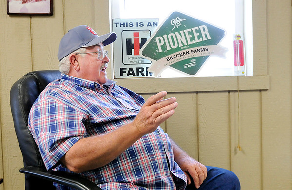 Don Knight   The Herald Bulletin<br /> Vaughn Bracken talks about his farming career and the changes he has seen at Bracken Farms on Wednesday.