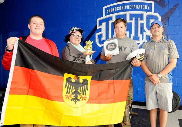 Don Knight | The Herald Bulletin<br /> APA teacher Jeff Brunnemer took students on a trip to Europe this summer. From left are Sam Hockwalt, Lindsey Fogle, William Inholt and Jeff Brunnemer.