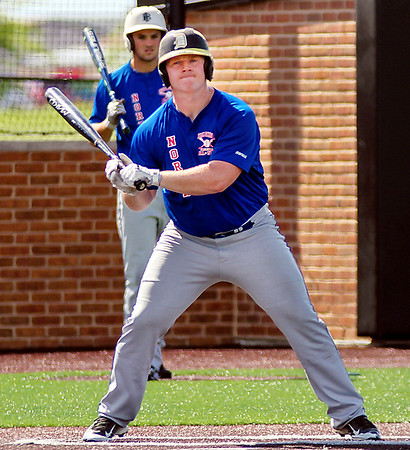Chris Martin for The Herald Bulletin <br /> Daleville's Corbin Maddox takes an at bat at the North vs South Indiana High School All Star game Saturday at Ball State.