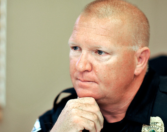 John P. Cleary |  The Herald Bulletin<br /> Chris Thompson, Ingalls new Town Marshal, speaks about his philosophy on law enforcement and being chief of a small community police department.