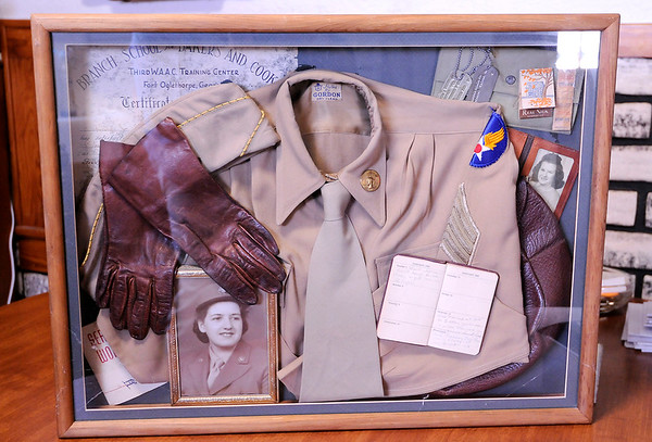 Don Knight | The Herald Bulletin<br /> A shadow box with mementos from Hilda Johnson service in the Women's Army Corps during WWII.