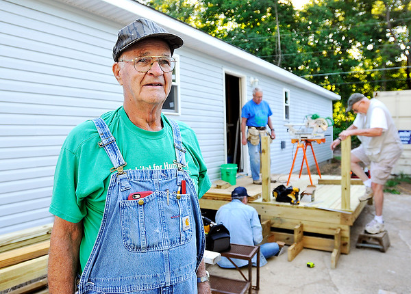John P. Cleary   The Herald Bulletin<br /> Sy Veneskey is a longtime volunteer with Habitat for Humanity, and heads up a crew that is building this home in Chesterfield.