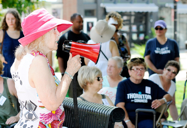 """Don Knight   The Herald Bulletin<br /> Patsy Wood-Spencer, president of  One Nation Indivisible Madison County, speaks during the """"We Are All Immigrants"""" rally held Dickmann Town Center park on Saturday."""
