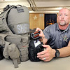 John P. Cleary | The Herald Bulletin<br /> Madison County Sheriff's deputy Det. Tom Naselroad shows the updated trauma kit he wears on his tactical vest. The kits were donated by St. Vincent Anderson to the department's tactical officers this past March.