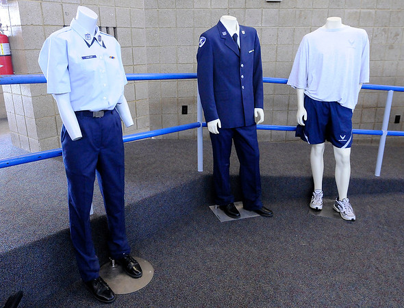 Don Knight   The Herald Bulletin<br /> Examples of dress and physical training uniforms on display for students as they participate in a three-day Cadet Leadership Course at APA on Thursday.