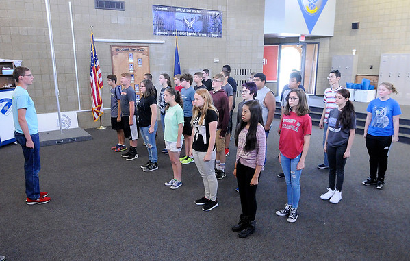 Don Knight | The Herald Bulletin<br /> Students fall in on the command of Michael Taylor as incoming students participate in a three-day Cadet Leadership Course at APA.