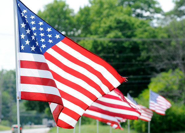 Don Knight | The Herald Bulletin<br /> The flag display at Cross Roads United Methodist Church is one of several around town for the Fourth of July holiday.