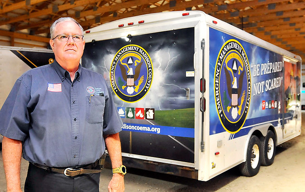 John P. Cleary | The Herald Bulletin <br /> Tom Ecker is the executive director of the Madison County Emergency Management Agency. For Hometown Heroes series.