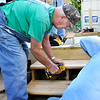 John P. Cleary | The Herald Bulletin<br /> Sy Veneskey is a longtime volunteer with Habitat for Humanity, working on this house being built in Chesterfield.